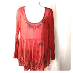 Free People Top Size Small Red Floral Bead Design